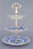 Cibulák Etažér 3-dílný, talíře plné, zlacená tyčka 35 cm