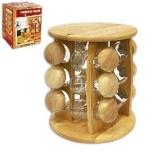 Kořenky do kuchyně 12ks + dřevěná polička