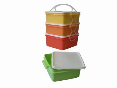 Jídlonosič plast 3x1,4l, čtvercový