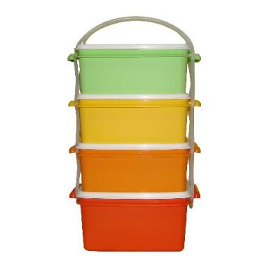 jídlonosič 3x1,2l + 1x1,4l hranatý 17x15x26cm PH mix barev