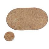 prostírání ovál 36x25cm + kruh 10cm korek (6+6ks)